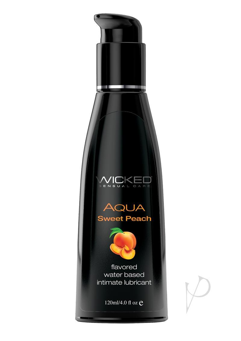 Wicked Aqua Flavored Water Based Lubricant Sweet Peach 4 Ounce